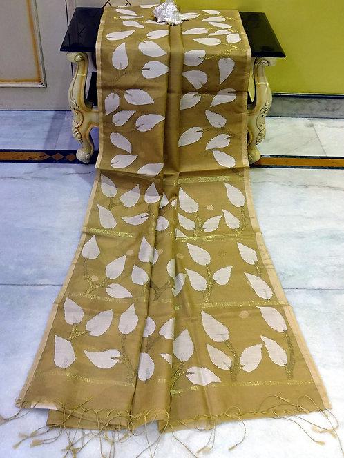 Muslin Jamdani Saree in Khaki Brown, White and Gold