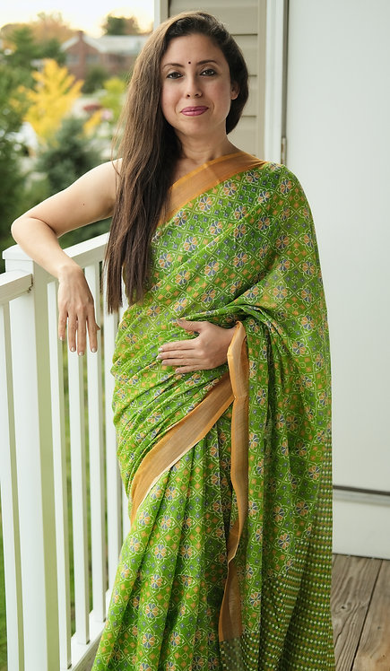 Hand Block Printed Patola Ikkat Cotton Linen Saree in Green and Yellow