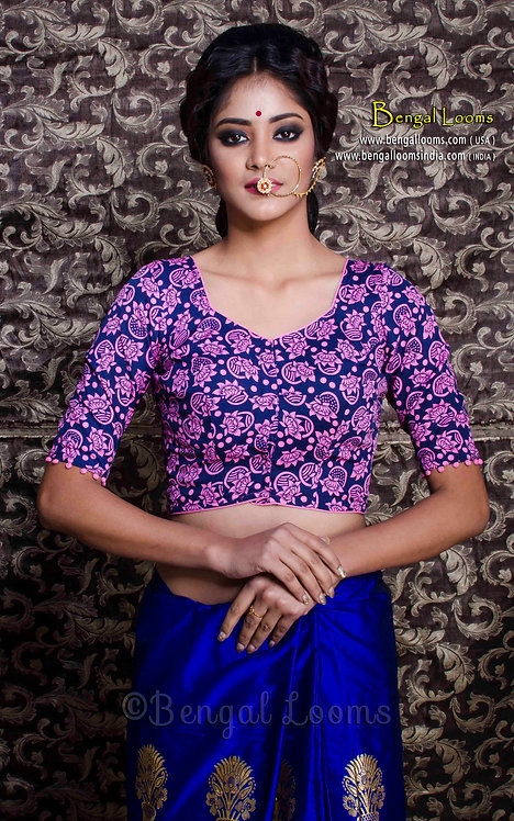 Printed Cotton Silk Blouse in Dark Blue and Pink, Size 36