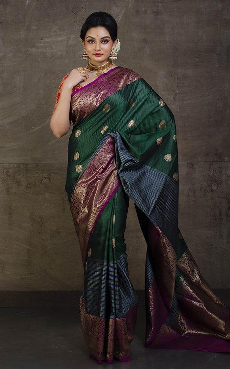 Pure Dupion Skirt Border Tussar Banarasi Saree in Dark Green, Purple and Blue