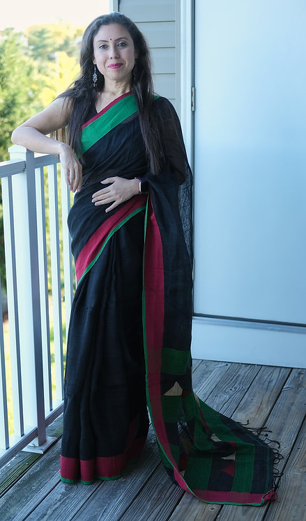 Linen Saree with Ganga Jamuna Border in Black, Green and Maroon