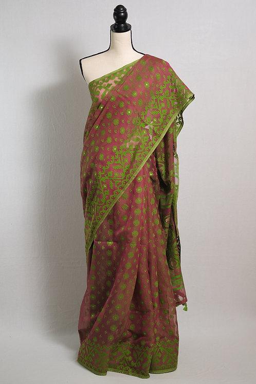 Soft Jamdani Saree in Greenish Maroon and Green