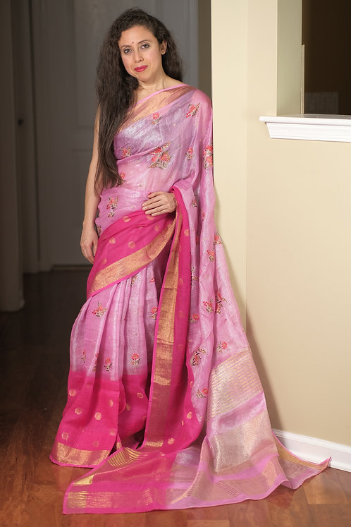 Exclusive Tissue Linen Embroidery Saree in Pink and Dark Pink