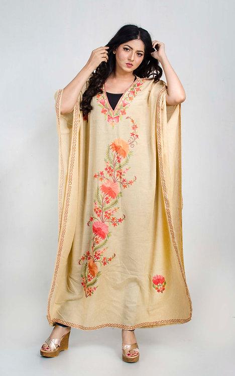 Beige Kashmiri Embroidery Work Kaftan in Free Size