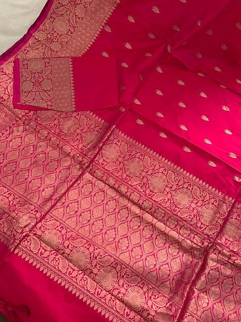 Pure Banarasi Katan Silk Saree in Light Rose Pink and Antique Gold