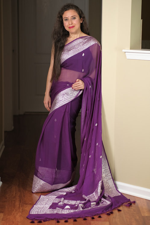 Pure Chiffon Banarasi Saree with Silver Zari in Dark Purple