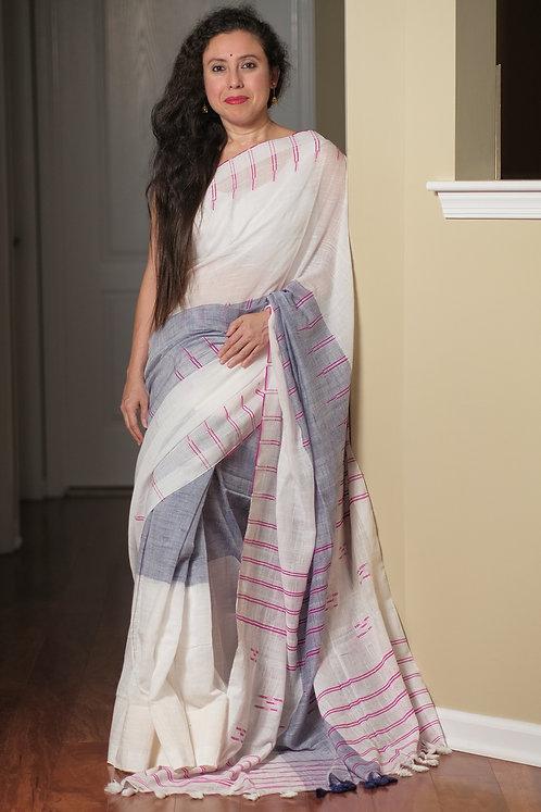 Contemporary Soft Linen Cotton Saree in White and Denim Blue