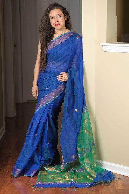 Pure Matka Silk Cotton Saree in Peacock Blue, Sea Green and Gold