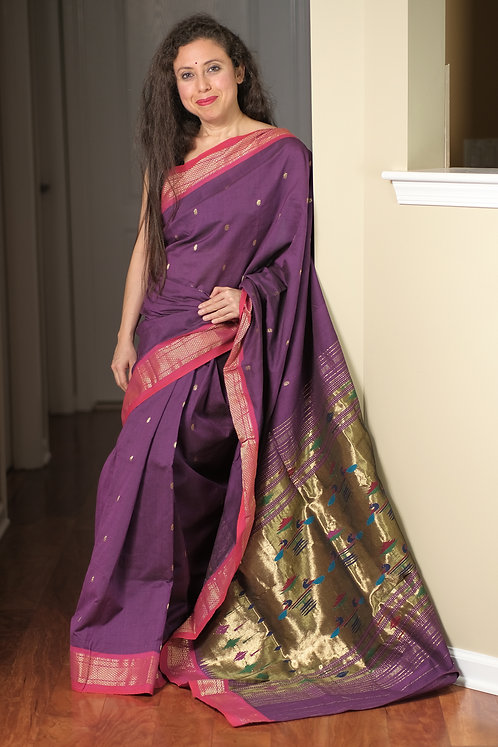 Handwoven Authentic Cotton Paithani Saree in Purple, Pink and Antique Gold