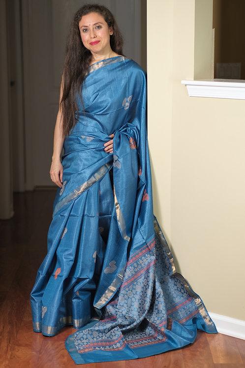 Tussar Silk Saree in Cobalt Blue and Gold