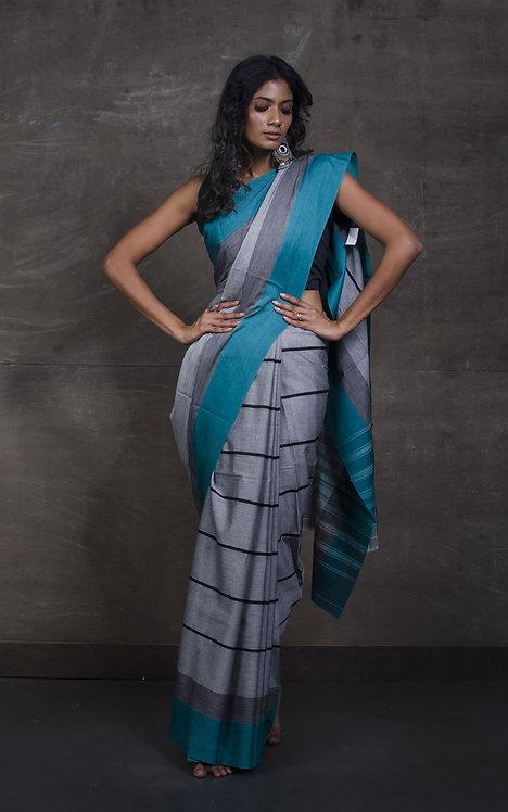 Bengal Handloom Designer Soft Cotton Saree in Grey, Black and Teal
