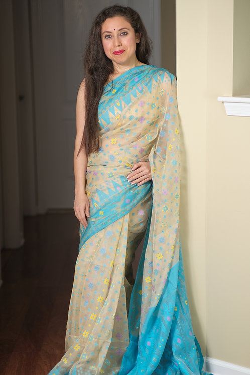 Soft Jamdani Saree in Cream, Blue and Yellow