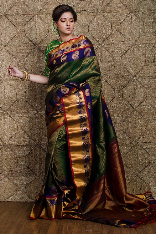 Gadwal Silk Saree in Bottle Green and Blue