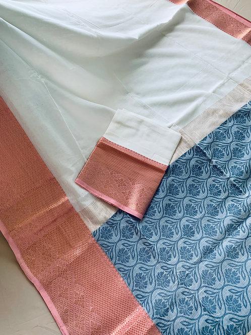 Premium Quality Soft Cotton Banarasi Saree in White, Pink and Gray