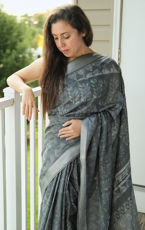 Hand Block Printed Cotton Linen Saree in Gray and Silver