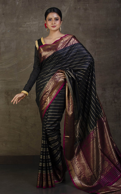 Pure Dupion Stripes Tussar Banarasi Saree in Black, Gray and Magenta