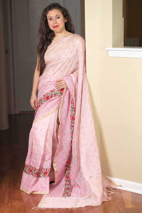 Silk Linen Embroidery Saree in Pink and Silver