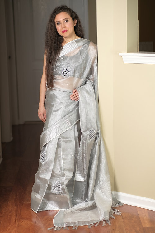 Cut Work Tissue Linen Saree in Silver