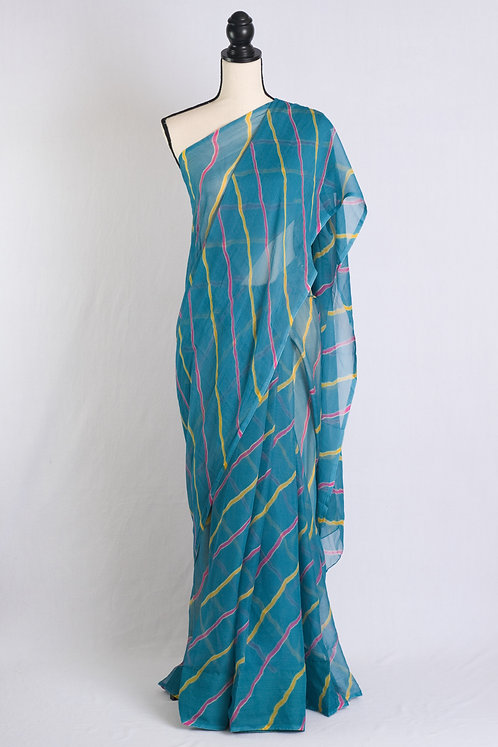 Chiffon Leheriya Saree in Blue