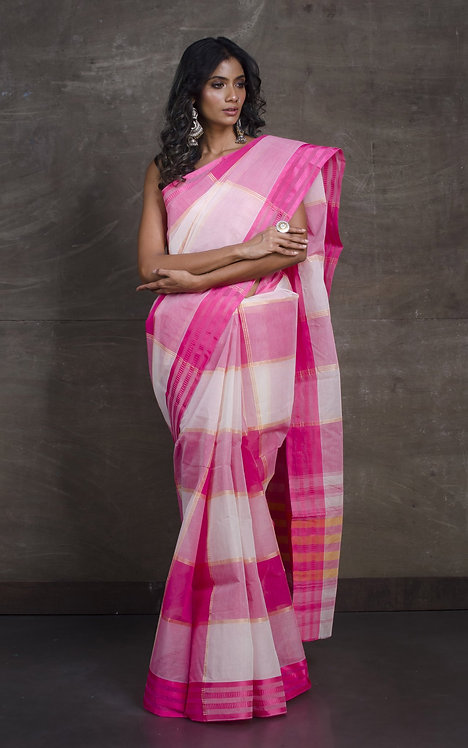 Bengal Handloom Cotton Saree with Starch in Pink and White