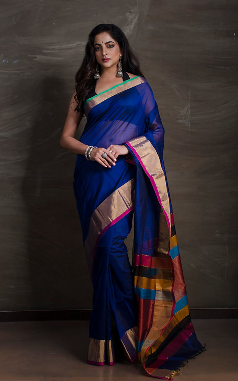 Maheshwari Cotton Silk Saree in Dark Blue