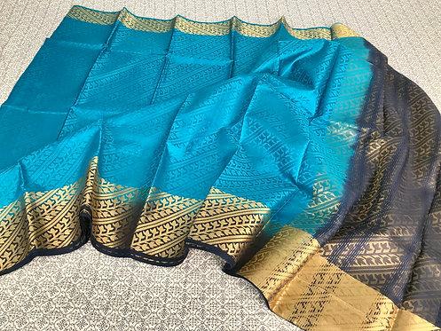 Art Silk Kanchipuram Saree in Sea Green and Blue