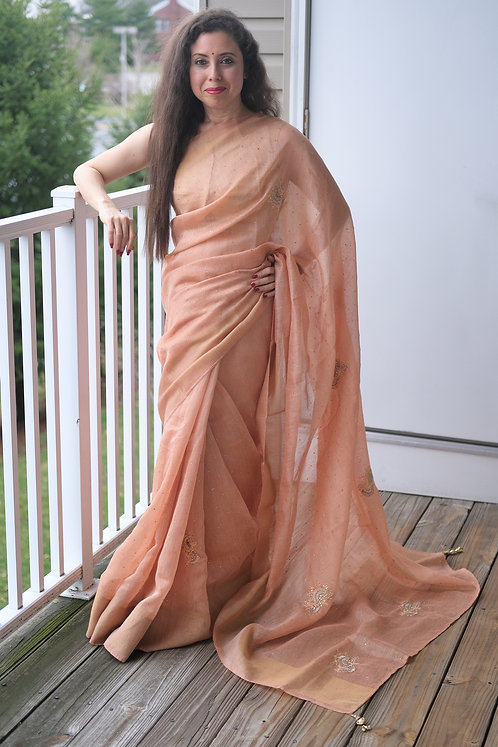 Zardosi Embroidery Linen Saree with Stones in Light Brown