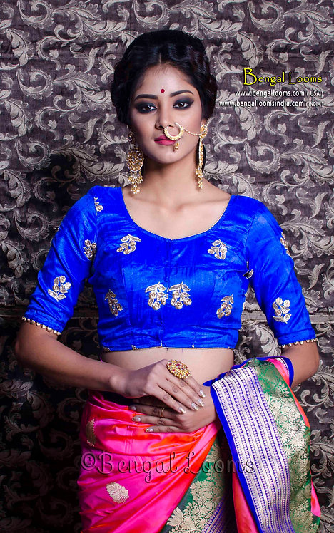 Royal Blue Zari Embroidery Blouse in Size 34