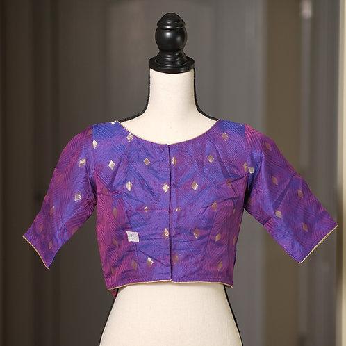Purple Boat Neck Designer Banarasi Blouse in Size 36