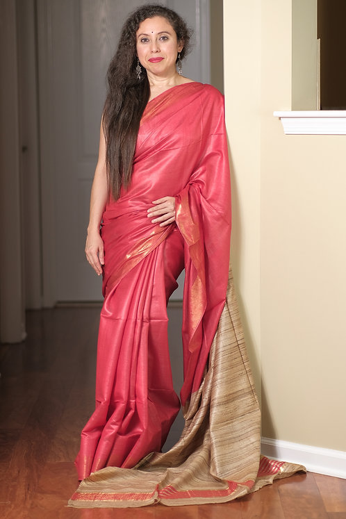 Staple Tussar Saree in Red and Beige