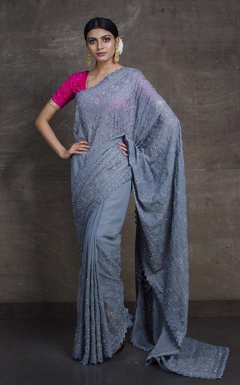Lucknow Chikankari Designer Saree in English Gray