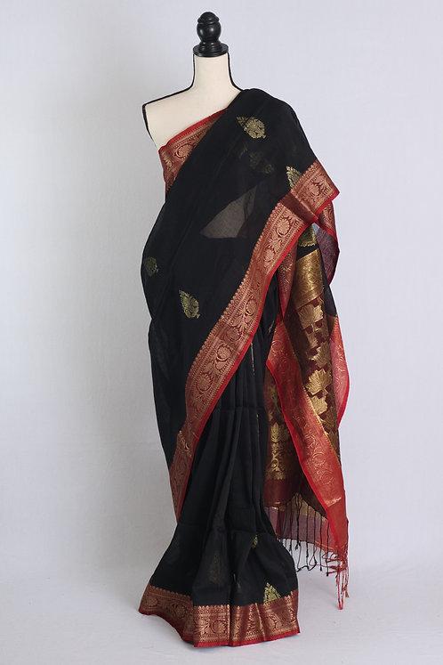 Silk Linen Banarasi Saree in Black and Red