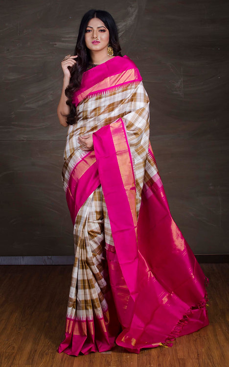Exclusive Kanjivaram Silk Saree in Off White, Brown and Magenta