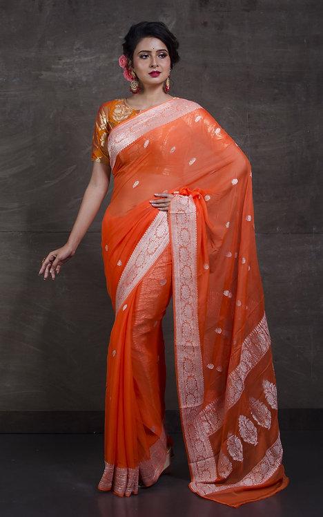 Pure Chiffon Banarasi Saree with in Orange and Silver