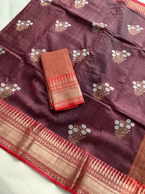Pure Tussar Banarasi Saree with Sona Rupa Zari in English Brown and Red