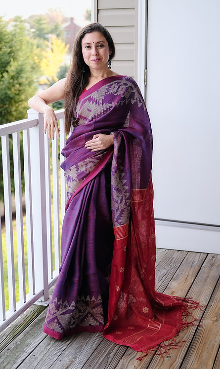 Pure Linen Jamdani Saree in Purple, Red and Antique Gold