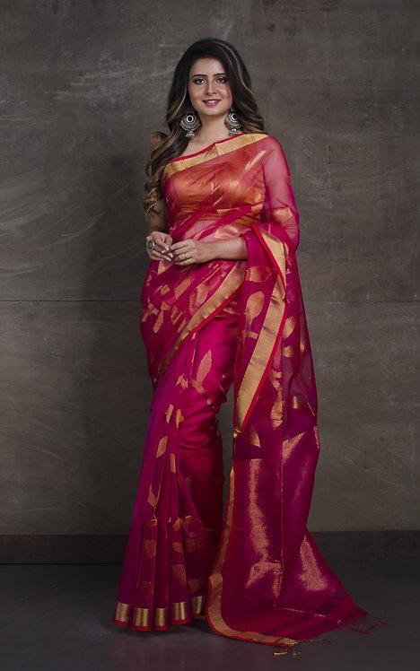 Muslin Jamdani Saree in Hot Pink and Gold