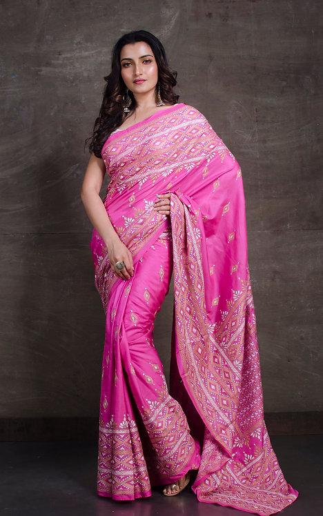 Hand Embroidered Kantha Stitched Silk Saree in Pink