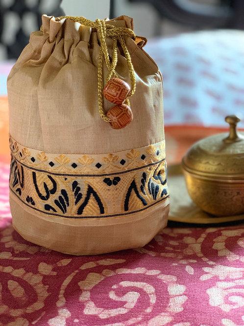 Hand Stitched Assamese Muga Potli Bag
