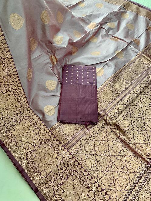Pure Banarasi Katan Silk Saree in English Mauve