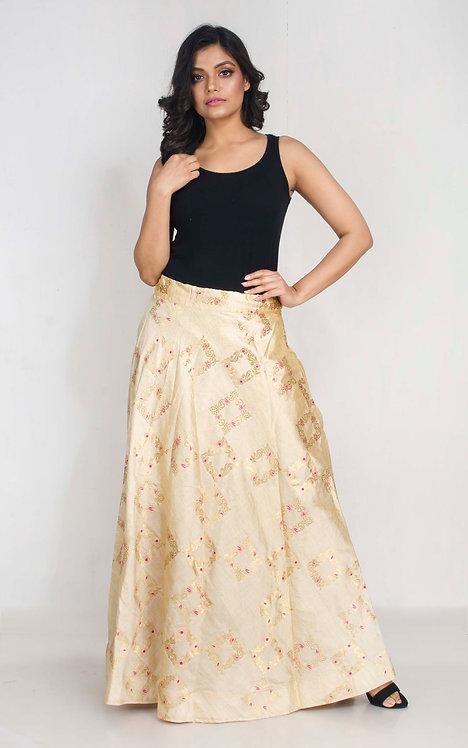 Gold and Rani Banarasi Silk Flared Long Skirt in Size XXL