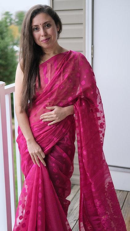Soft Jamdani Saree in Hot Pink