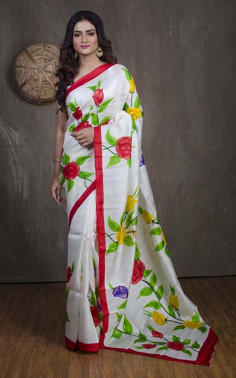 Printed Pure Silk Saree in Off White