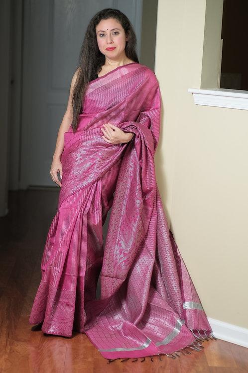 Semi Raw Silk Saree in Dark Magenta and Silver