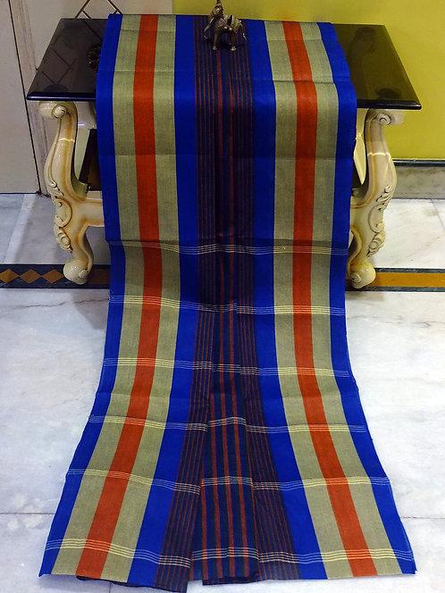 Bengal Handloom Cotton Saree with Starch in Blue, Orange and Beige