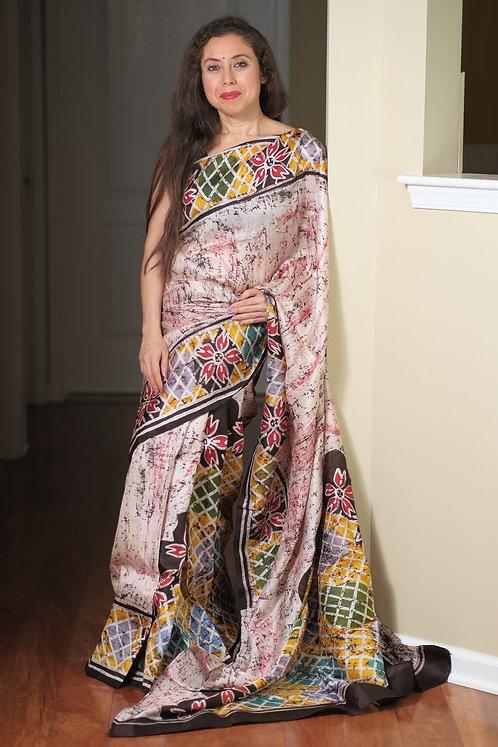 Hand Batik Bishnupur Pure Silk Saree in Cream, Brown,Yellow and Red