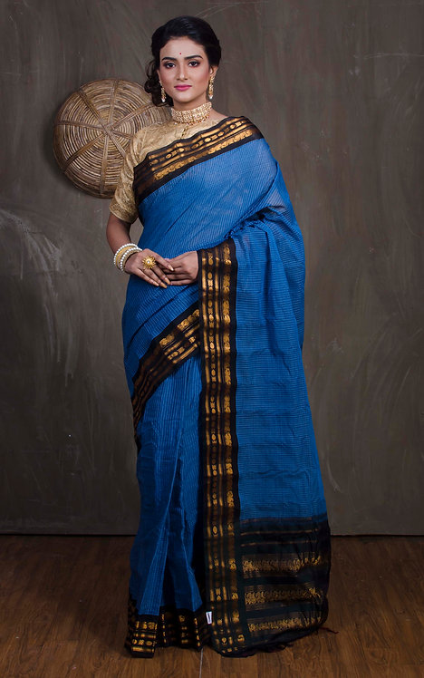 Gadwal Cotton Silk in Blue and Black