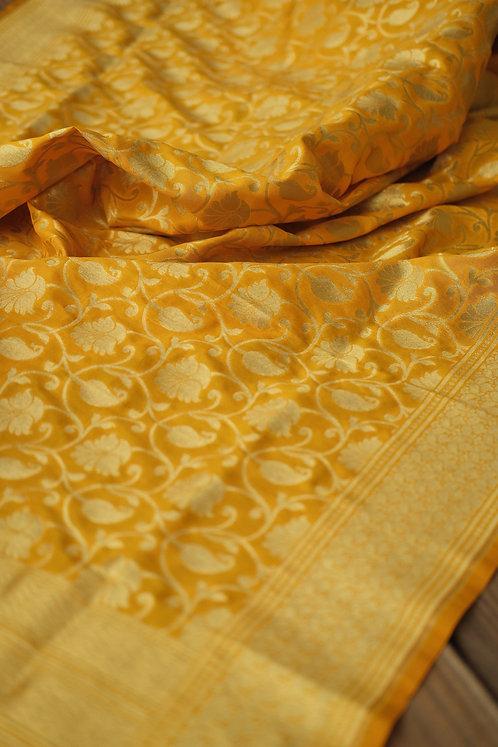 Banarasi Silk Dupatta in Bright Yellow and Gold