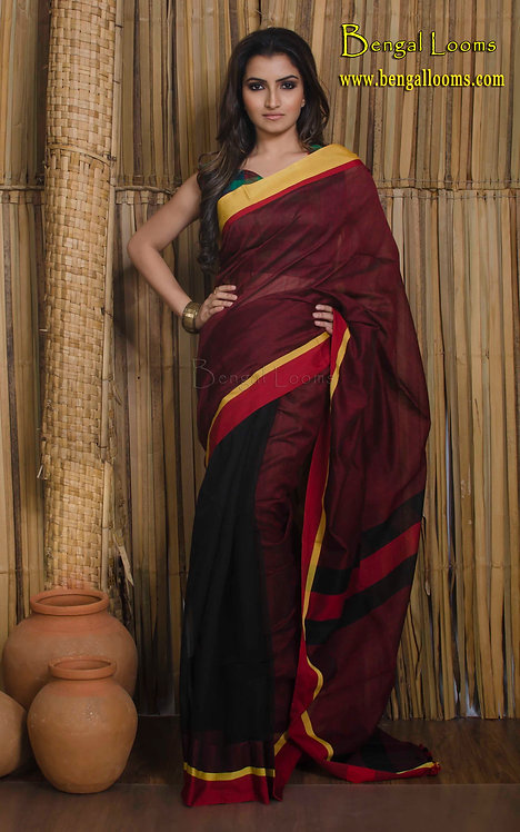 Soft Cotton Saree in Black and Red