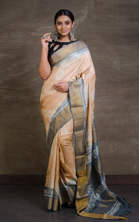Printed Soft Tussar Silk Saree in Beige and Gray